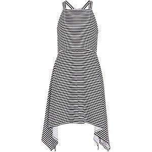 Girls navy stripe dipped hem dress
