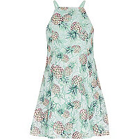 Girls green lace pineapple print dress