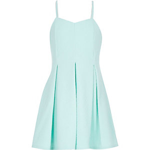 Girls mint jacquard strappy party dress