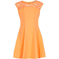 Girls orange fit and flare occasion dress
