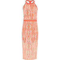 Girls orange tribal print maxi dress
