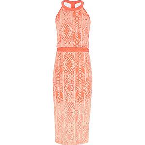 Girls orange tribal print maxi dress