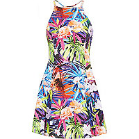 Girls purple tropical fit and flare dress