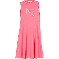 Girls pink crochet sleeve dress