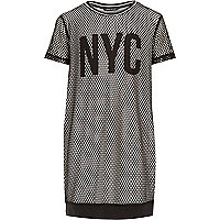 Girls black NYC mesh dress