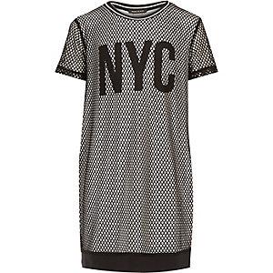 Girls black NYC mesh dress