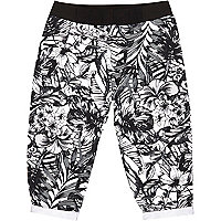 Mini girls black tropical print joggers