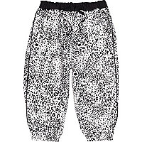 Mini girls black leopard print trousers