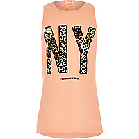 Girls orange wild New York print vest
