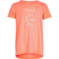 Girls coral slogan print t-shirt
