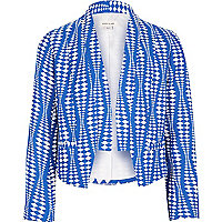 Girls blue geomeric print blazer