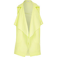 Girls lime green draped sleeveless jacket