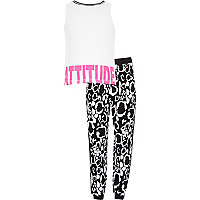 Girls white printed top and joggers outfit