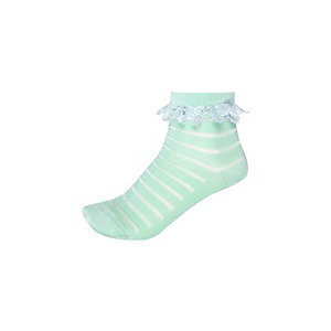 Girls green stripe frilly socks