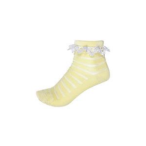Girls yellow stripe frilly socks
