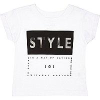 Mini girls white style print t-shirt