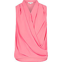 Girls pink sleeveless drape front top