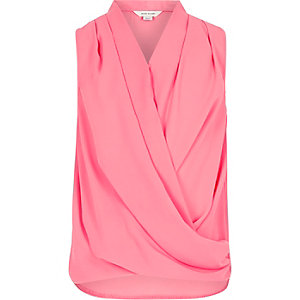Girls pink sleeveless drape front top