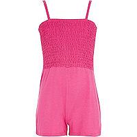 Girls pink shirred top playsuit
