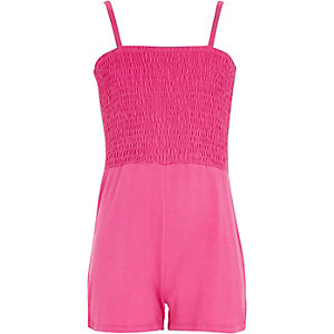 Girls pink shirred top playsuit