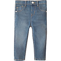 Mini girls mid blue wash skinny jeans