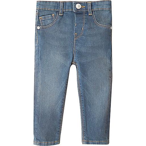 Mini girls mid blue wash skinny jeans
