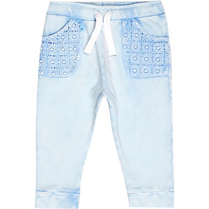 Mini girls blue acid wash joggers