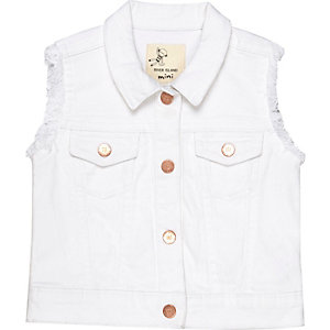 Mini girls white denim vest