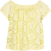 Girls yellow lace bardot top