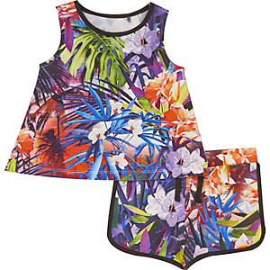 Mini girls purple tropical print outfit