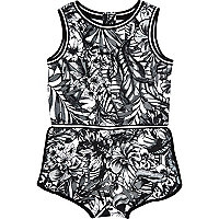 Mini girls black printed playsuit