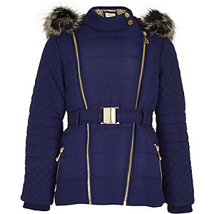 Girls navy padded belted jacket
