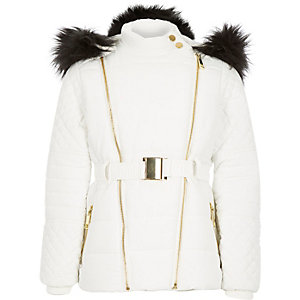 Girls white padded belted jacket