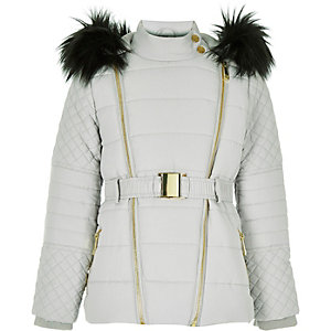 Girls grey padded belted jacket