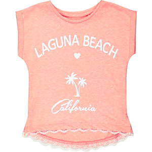 Girls coral Laguna Beach print t-shirt