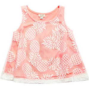 Mini girls pink pineapple print lace top