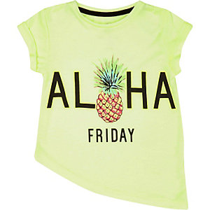 Mini girls lime pineapple asymmetric t-shirt