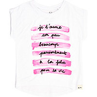 Mini girls white je t'aime print t-shirt