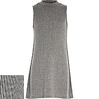 Girls grey ribbbed longline tank top