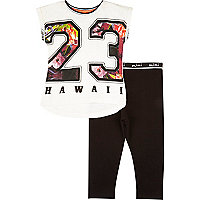 Mini girls Hawaii top and leggings outfit