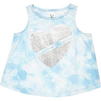 Mini girls white tie dye heart vest