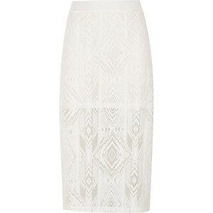 Girls cream geo print midi skirt