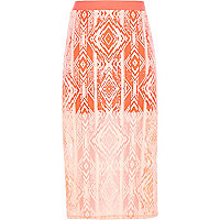 Girls orange geo print maxi skirt