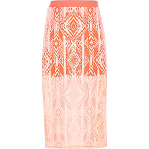 Girls orange geo print midi skirt