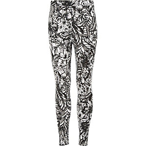Girls black palm tree print leggings