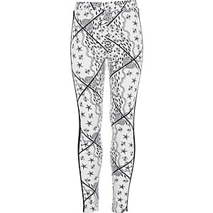Girls white paisley print leggings