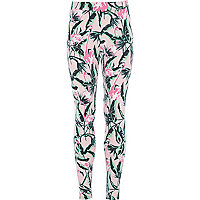 Girls pink flamingo print leggings