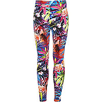 Girls pink tropical print leggings