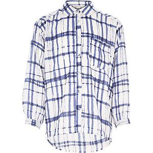 Girls cream check oversized shirt