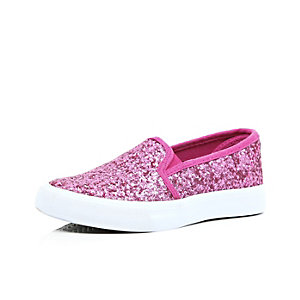 Girls pink glitter slip on plimsolls